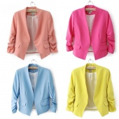 Women OL Style Candy Color Thin Suit Outerwear 3/4 Sleeve Coat Casual Mini Blazer 5 Colors