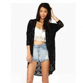 Floral Lace Shirt Open Front Cardigan Top