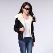 Fashion Women's Black Winter Warm Fur Coat Zipper Lapel Jacket Parka M L XL