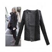 Ladies Warm Leather Sleeve Epaulette Inclined Zipper Cotton-Padded Coat Jacket