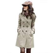 Fashion Womens Slim Fit Trench Double-breasted Coat Jacket Outwear