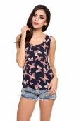 Women Crew Neck Sleeveless Butterfly Print Chiffon Vest Tank Top Shirt