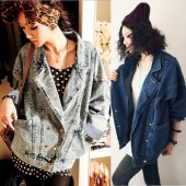 Women Vintage Loose Double-breasted Long Sleeve Denim Coat Jacket