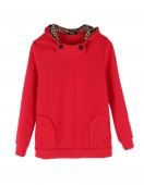Women's Autumn Hoody Leopard Sweatshirt Top Outerwear Parka Coats 4SIZE