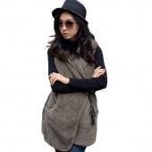 Korea Women's Girls Fashion Elegant Warmer Casual Bushy Hoodie Long Vest Coat 5 Colors