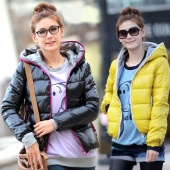 4 Colors Fashion Women's Outwear Winter Warm Hoodie Zip Up Down Jacket Coat New