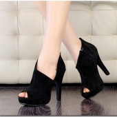 2012 Fashion Sexy Fish Mouth Women's Super-High Heel Shoes Pump Platform Velvet