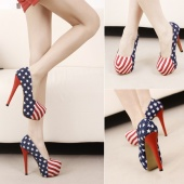 Sexy Lady Girl Women Canvas Fashion Show US Flag Stiletto High-heeled Shoes