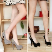 """Women""""s Sexy Elegant Vogue Faux Suede High Heels Pumps Chain Embellished Back Shoes 2Colors"""