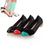 Women's Nice round Head Candy Color Synthetic Leather Slope with Shoes