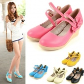 Sweet Women's Casual round Toe Candy Color Wedge Classic Bowknot Shoes 5 Colors