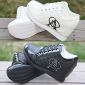 Women High Platform Invisible Heighten Increasing Sneakers Canvas Shoes 2 Colors 3 Sizes 8cm Heels