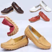 5 Colors Women's Mother's Leather Shoes Slip-on Ballet Flats Comfort Anti-skid Shoes