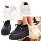 Ladies Fashion Women's round Toe Synthetic Leather High Platform Shoes Retro Flat Shoes
