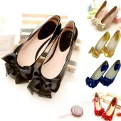 Fashion Women's Bowknot Slip-on Sweet Flat Ballet Shoes Soft Soled Shoes