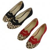 Woman Girls Cute Leopard Print Lip Flat Heel Flats Shoes 2Colors