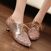 Women Ladies Sequins Classic Shoes Pointy Toe Flats Light Coffee/Black