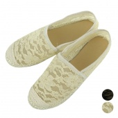 Summer Fashion Retro Lace Shoes round Toe Flat Shoes Black Beige