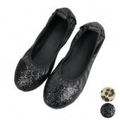 "Women""s Paillette Leopard Splicing round Toe Shoes Low Heels Flat Shoes"