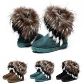 Women's Autumn Winter Snow Boots Ankle Boots Warm Fur Shoes 3 Colors