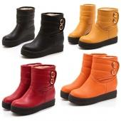 "Women""s Girl Winter Warm Flat Heel Snow Boots Shoes 4 Size Anti-skid Rubber Sole"