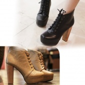 "Women""s Platform round Toe High Heels Shoes Ankle Boots"