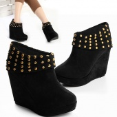 GORGEOUS PARTY WEAR WOMEN SOFT SUEDE Rivets ANKLE Boot Platform Wedge Booties Shoes