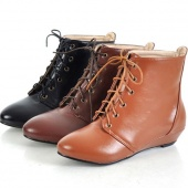 Lace UP round Toe Women's Sythetic Leather Ankle Flats Boots Shoes Good Quality