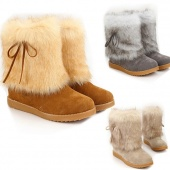 Women Girl Winter Warm Faux Fur Mid-calf Bowknot Flat Heel Snow Boots Shoes