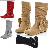 Women's Fashion Boots Bow Decoration Mid-Calf OL Style Fashion And Beautiful Shoes 4 Sizes
