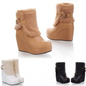 "5 Colors Women""s Girls Suede Mid Calf Winter Warm Snow Boots round Toe Shoes Flat Boots"