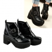 Women's Black Buckle Strap Chunky Heel Ankle Boots Anti-skid Rubber