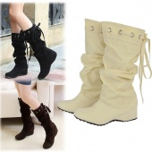 Fashion Women's Ladies round Head Height Increasing Heel Boots Winter Autumn Shoes 3 Colors
