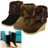 Women's Lady Zipper Suede High Top Wedge Heel Shoes Ankle Boots Size 36-39