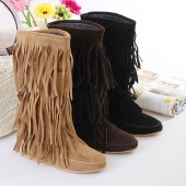 Women's 3 Layer Fringe Tassels Flat Heel Decoration Mid-Calf Slouch Boots Shoes 4 Sizes