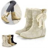 Women's Casual Fashion Bobbin Lace Half Boots Flattie Single Boots Shoes 3Colors