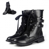 Women's Cool Punk Rock Military Army Knight Lace-up Short Boots Black