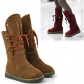 """Fashion Warm Women""""s Lady Lace Up Snow Boots Half Boot Flat Shoes Winter"""