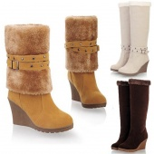 Women Ladies Casual Dual-purpose Wedges Boots Winter Warm Snow Boots
