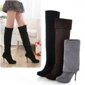 Fashion Women's Elegant Suede over the Knee Thigh Stretchy High Heels Boot Shoes
