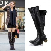 Fashion Women's Metal Buckle Synthetic Leather over the Knee High Flat Boots Shoes