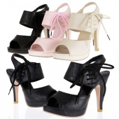 Women Casual Leather Peep-toe Shoes High Heel Platform Sandals 3 Colors 4 Sizes