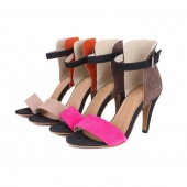 Women High Heels Stiletto Shoes Suede Splicing Ankle Strap Sandals
