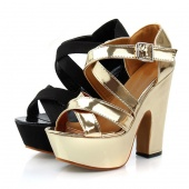 Women Ladies Sandals High Heel Platform Pumps Shoes Ankle Strap Golden/Black