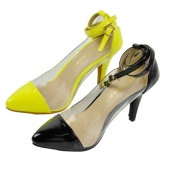 Woman Pointy Cap Toe Clear Transparent Ankle Wrap Strap High Heels Sandals Shoes Black/Green