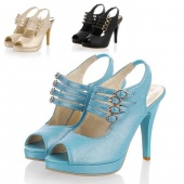 Women Ladies Peep Toe Sandals High Heel Platform Pumps Double-Button Shoes Silver/Black/Blue
