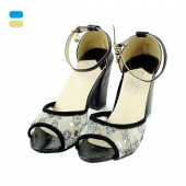 Women's Ladies Fashion High Heel Lace Peep-Toes Thick Heel Sandal New