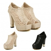 Women's Sexy Lace Platform Pumps Sandals Peep Toe High Heel Shoes