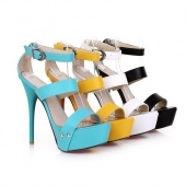 Fashion Women Casual Ankle Strap High Heel Sandals Shoes 4 Colors 4 Sizes