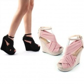 Lady Peep Toe Platform Wedges Heels Sandals Boots Shoes